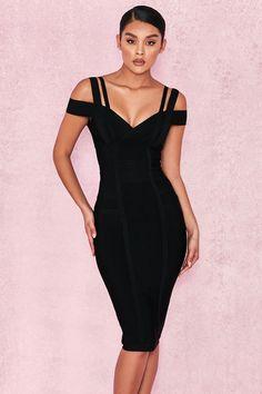 91193255b  Mimi  Black Off Shoulder Bandage Dress Vestidos Sexys