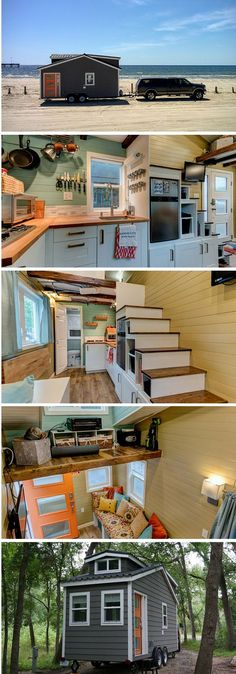 #tumbleweed #tinyhouses #tinyhome #tinyhouseplans The Wanderlust tiny home: a tiny house on wheels measuring under 200 sq ft.: