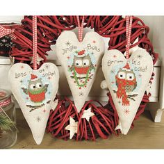 Christmas Owls Holiday Hearts - Cross Stitch, Needlepoint, Stitchery, and Embroidery Kits, Projects, and Needlecraft Tools | Stitchery