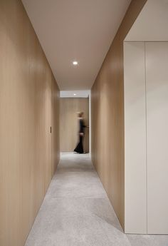 DM Apartment is a minimal apartment located in Barcelona, Spain, designed by Francesc Rifé Studio, that's divided into two main areas. Scandinavian Cabin, Minimal Apartment, Hotel Corridor, Hotel Hallway, Corridor Lighting, Lift Design, Corridor Design, Hallway Inspiration, Interior Architecture