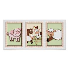 Shop Farm Babies Farm Animal Nursery Wall Art Print created by LittlePrintsArt. Farm Animal Nursery, Baby Farm Animals, Baby Nursery Art, Nursery Artwork, Nursery Paintings, Baby Wall Art, Nursery Room, Baby Room Themes, Baby Room Decor