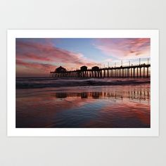 Sunset Huntington Beach Pier CA   Art Print by John Minar - $19.99
