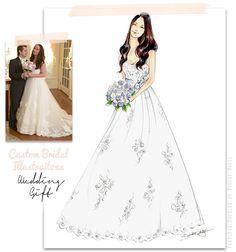 Custom Bridal Illustrations; The Go-to Wedding Gift by Brooke Hagel #bridalillustration #custom #art
