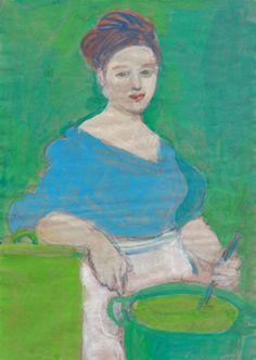 Elisabeth Jonkers, Blauwe kok, Gouache op papier, in lijstje, Figure Painting, Painting & Drawing, Portrait Art, Portraits, Paintings I Love, Face Art, Figurative Art, Abstract Expressionism, Art Inspo