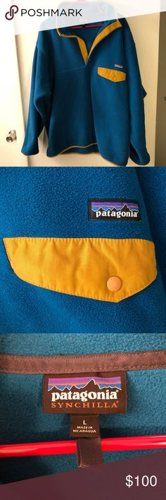 Patagonia Synchilla Pullover Teal-ish blue Patagonia Synchilla Pullover w/yellow accents • Super soft • Amazingly warm • Only worn a few times and in Like New condition • Not sold online/in stores anymore • Men's L • Women's XL • Patagonia Jackets & Coats