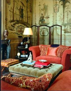 This whole room has amazing detail, the wallpaper, ottoman and beautiful cushions...