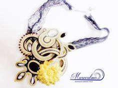Burlesque necklace fiber art jewelry soutache by Marecalmojewels