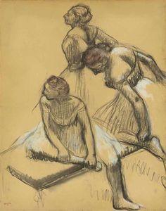 Artwork by Edgar Degas, Trois danseuses, circa 1889 Made of pastel on paper Edgar Degas, Drawing Artist, Life Drawing, Degas Drawings, Figure Drawings, Art Drawings, Van Gogh, Impressionist Artists, Famous Art