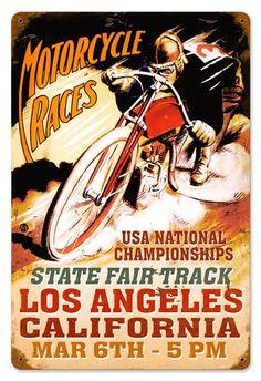 LA Motorcycles Vintage Metal Sign