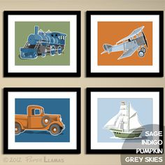 transportation wall art childrens wall art airplane by PaperLlamas