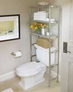 20 bathroom storage over toilet organization ideas. You have a small bathroom and you don't have idea how to design it? A small bathroom can look great and be fully functional as the large bathrooms. Over The Toilet Cabinet, Bathroom Storage Over Toilet, Shelves Over Toilet, Bathroom Storage Solutions, Small Bathroom Organization, Bath Storage, Storage Spaces, Organization Ideas, Bathroom Ideas
