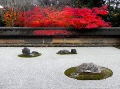 What is the message behind the design of this garden?I wondered when I visited the famous Ryoanji's rock garden.Ryoanji is known for the simple rock garden wher. Japanese Rock Garden, Zen Rock Garden, Japanese Gardens, Zen Gardens, Japanese Architecture, Landscape Architecture, Landscape Design, Garden Design, Ryoanji