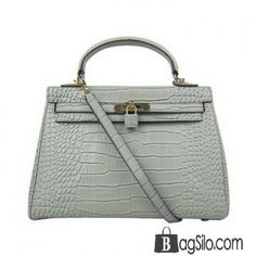 c2011b5d896a Hermes Silvery Grey Kelly Crocodile Bag With Gold Sliver Hardware - 32 -  Gold Hermes