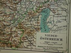 Original 100+ year old map of Austria - 1913 antique print - alte karte Österreich Oostenrijk Autriche Vienna Wien Nikolsburg Mikulov Baden by VintageOldMaps on Etsy
