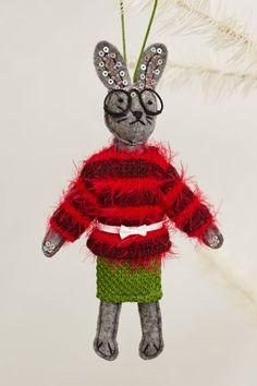Soiree Bunny Ornament - anthropologie.com