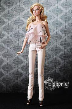 ELENPRIV Pale Pink Leather PANTS for Fashion royalty by elenpriv