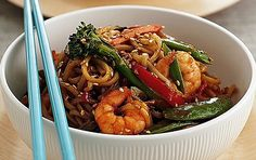 Recipe: Prawn and noodle stir-fry Stir Fry Recipes, Pork Recipes, Asian Recipes, Cooking Recipes, Healthy Recipes, Ethnic Recipes, Oriental Recipes, Asian Foods, Seafood Recipes