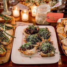 Just Mayo bruschetta with shiitake mushrooms, beet greens, and sprouts - food for the party gods.