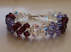 Basic right angle weave bracelet. This was made with sparkly Swarovski bicones and shades were selected to create a purple ombré look.