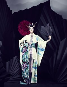 Georgia Frost by Jenny Hands for How To Spend It April 2013 #fashion #editorial #model #geisha #dark #black #kimono #asia #japan #japanese