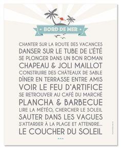 Bord de Mer! affiche adhésive ou poster à encadrer 40*50 cm mesmotsdeco.com