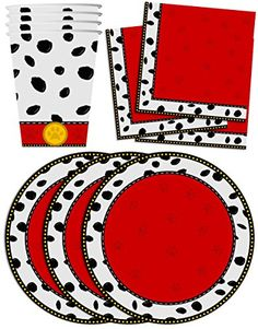Dalmatians Birthday Party Supplies Set Plates Napkins Cups Tableware Kit for 16