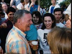 Astronaut Neil Armstrong walking through the crowd at the Apollo 11 Twentieth Aniversary Picnic at the Gilruth Center.  RIP