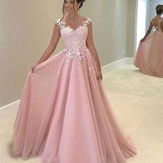 H296 spaghetti straps long prom gowns, lace appliques evening dresses, pink long evening dresses