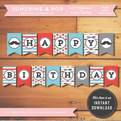INSTANT DOWNLOAD - Mustache Party Printable Happy Birthday Banner - Little Man Mister Moustache Bash Decoration First Red Blue Grey sur Etsy, 5,18€