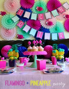 Fiesta Friday/Real Party - Flamingo + Pineapple Party X 2 - Revel and Glitter Flamingo Party Supplies, Flamingo Birthday, Flamingo Cake, Tropical Party, Birthday Parties, Summer Birthday, Theme Parties, 8th Birthday, Happy Birthday