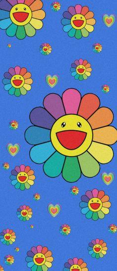 Retro Wallpaper Iphone, Hippie Wallpaper, Iphone Wallpaper Tumblr Aesthetic, Iphone Background Wallpaper, Kids Wallpaper, Cartoon Wallpaper, Aesthetic Wallpapers, Flower Lockscreen, Murakami Flower