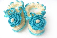 Hand Crochet Baby Booties baby boots floral white by KnittyStories, $19.00