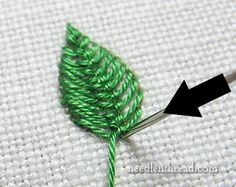 Cretan Stitch tutorial Filling for Embroidered Leaves