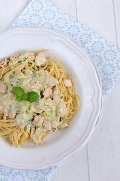 Rezepte mit Herz: Spaghetti mit Lachs - Sahne - Sauce ♡
