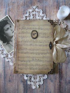 Old music diary journal notebook old sheet music vintage