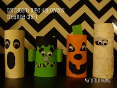 Cardboard Tube Halloween craft found at:  http://mygratitudeattitudes.blogspot.com/