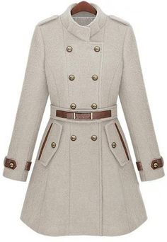 Beige Double Breasted Banded Collar Belt Woolen Coat >> Super!