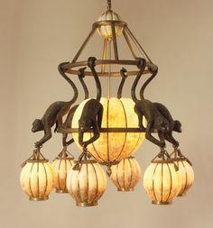 Eggshell Inlaid Lantern Chandelier with Hanging Monkeys in Verdigris Brass Home Lighting, Lighting Design, Chandeliers, Elephant Lamp, British Colonial Decor, Maitland Smith, Fan Lamp, Lantern Chandelier, Deco Originale