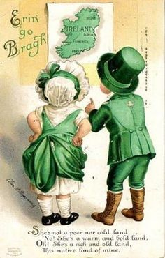 Erin Go Bragh Couple Looking at Ireland Map Scene - Vintage Artwork Giclee Art Print, Gallery Framed, Espresso Wood), Multi Fete Saint Patrick, San Patrick, Vintage Greeting Cards, Vintage Postcards, Vintage Images, Vintage Pictures, Holiday Postcards, Funny Pictures, St Patrick's Day