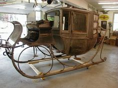 1900 Sleigh (pre-restoration). Horse drawn Horse Wagon, Horse Drawn Wagon, Christmas Mesh Wreaths, Christmas Sleighs, Wooden Wagon, Old Wagons, Dashing Through The Snow, Horse And Buggy, Baby Buggy