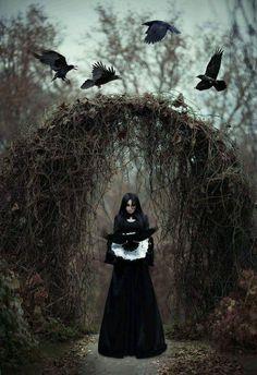 The dark witch in the empty forest by Maryna Khomenko Foto Fantasy, Dark Fantasy, Fantasy Art, Fantasy Books, Dark Beauty, Gothic Beauty, Dark Gothic, Gothic Art, Yennefer Cosplay