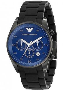 #armaniwatch - 26% OFF. http://bucksme.com/share/3375  This suave looking Emporio Armani bracelet watch is set in black ion plated steel with a striking blue dial. It features chronograph sub-dials and a date function. A great timepiece perfect for business and pleasure.