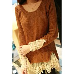 Sweater with lacy details - via amazon