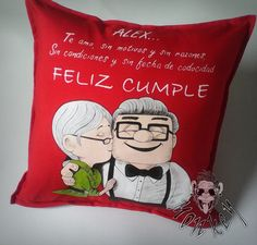 #love #cumpleaños #personalizados #cojines #up #amor Chocolates, Up, Pillow Covers, How To Plan, Love, Pillows, Ideas, Amor, Frases