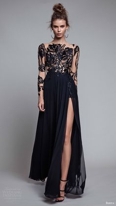 berta rtw fall 2017 (17 24) illusion long sleeves bateau neck a line navy evening dress slit skirt mv -- Berta Fall 2017 Ready-to-Wear Collection