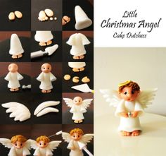 Christmas angel. Could do this in fondant for a cake or out of clay for the tree.