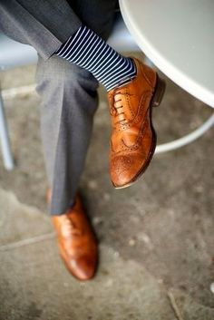 Men's Grey Dress Pants, Tan Leather Brogues, Navy and White Horizontal Striped Socks