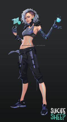 MrSuicideSheep - Cyberpunk by Nise Loftsteinn Art Cyberpunk, Cyberpunk Aesthetic, Cyberpunk Fashion, Cyberpunk Tattoo, Steampunk Fashion, Gothic Fashion, Female Character Design, Character Design Inspiration, Character Art