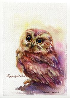 PRINT The Owl Watercolor painting 7.5 x 11 by WaysideBoutique
