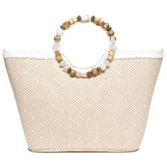Kim Rogers White Beaded Ring Tote ($20) ❤ liked on Polyvore featuring bags, handbags, tote bags, white, straw beach tote, beaded purse, straw purses, white purse and tote purses